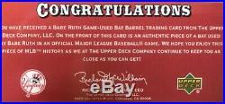 02 Upper Deck Babe Ruth 1/1 Bat Barrel