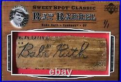 02 Upper Deck Sweet Spot Classic Babe Ruth 1/1 Bat Barrel
