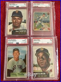 (14) Vintage Superstar Baseball Card Lot PSA (1954 Mantle, Mays Banks) Low Grade