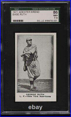 1921 Koester Bread Babe Ruth Sgc 7.5 Pop 1 None Higher Sgc Or Psa