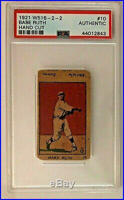 1921 W516-2-2 #10 Babe Ruth RARE pitching PSA Authentic New York Yankees