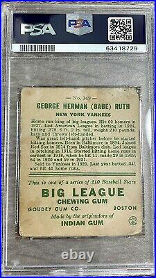 1933 Babe Ruth # 149 New York Yankees Baseball Card PSA FR1.5 Color Centered