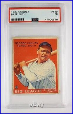 1933 GOUDEY #149 BABE RUTH PSA 1 EXCELLENT CONDITION (except for punch-hole)