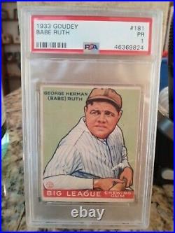 1933 GOUDEY George Herman BABE RUTH NY Yankees PSA 1 #181 NO reserve