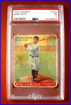 1933 Goudey #144 Babe Ruth NEW YORK YANKEES PSA 1
