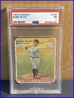 1933 Goudey #144 Babe Ruth PSA 1