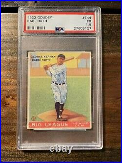 1933 Goudey #144 Babe Ruth PSA 1.5 New York Yankees NO CREASES Looks Like 4 or 5