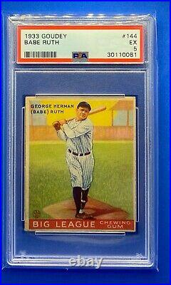 1933 Goudey #144 Babe Ruth PSA 5 BEAUTIFUL! RARE! GREAT COLOR