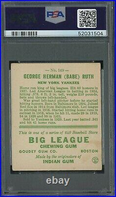 1933 Goudey #149 Babe Ruth New York Yankees HOF PSA 4 VG-EX