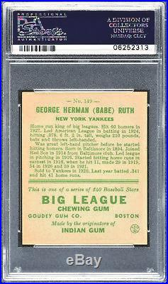 1933 Goudey #149 Babe Ruth Yankees PSA 8 652411