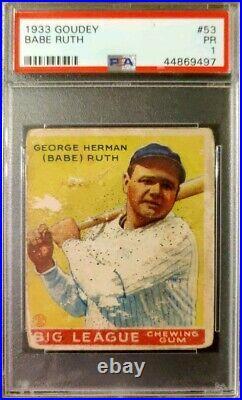 1933 Goudey #53 Babe Ruth Baseball Cards HOF New York Yankees PSA 1