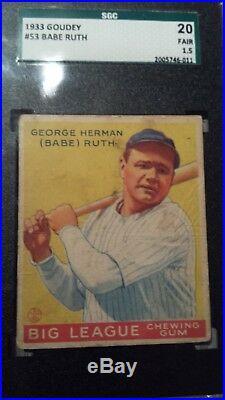 1933 Goudey #53 Babe Ruth SGC 20