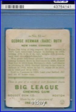 1933 Goudey #53 Babe Ruth STRONG PSA Good 2 New York Yankees baseball card