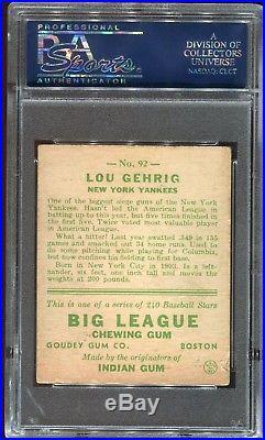 1933 Goudey #92 LOU GEHRIG PSA 3.5 VG + New York Yankees