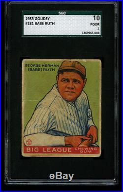 1933 Goudey BABE RUTH Green Yankees HOF #181 SGC 1