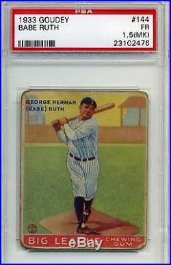 1933 Goudey Babe Ruth #144 PSA Graded 1.5 New York Yankees
