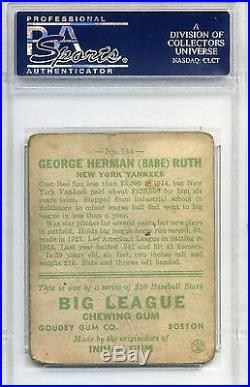 1933 Goudey Babe Ruth #144 PSA Graded 1.5 New York Yankees