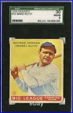 1933 Goudey Babe Ruth #53 Yellow SGC 30 Beautiful Bright Not PSA
