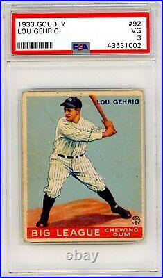 1933 Goudey Lou Gehrig #92 PSA 3 P876