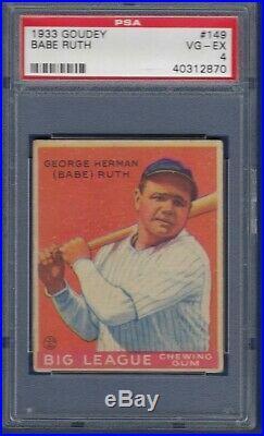 1933 Goudey No. 149 Babe Ruth Psa 4 Vgex No Crease