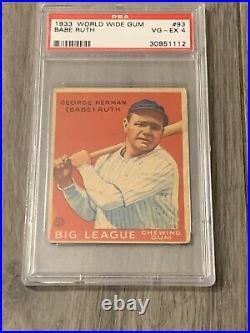 1933 Goudey World Wide Gum Babe Ruth #93 PSA 4 VGEX