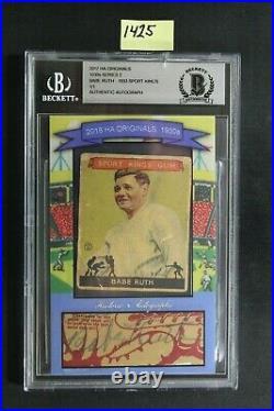 1933 Sport Kings Babe Ruth 1/1 Cut Auto 2017 HA Originals 1930s Series 2 1425