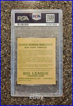 1933 World Wide Gum Babe Ruth #80 RC SP PSA Authentic, Canadian Goudey NM Rare