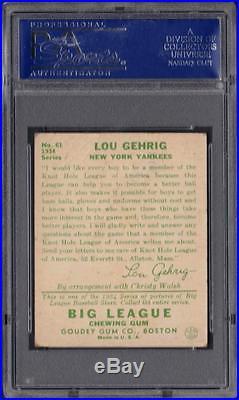 1934 Goudey #61 Lou Gehrig Yankees PR PSA 1