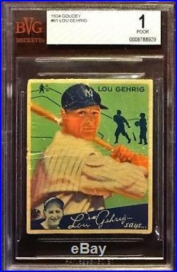 1934 Goudey Lou Gehrig #61 BVG 1 NYY HOF Iconic Card