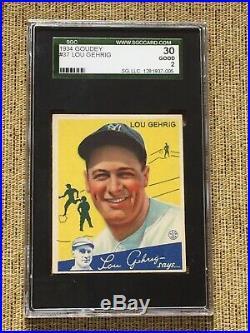 1934 Lou Gehrig Goudey #37 SGC 30 Good 2