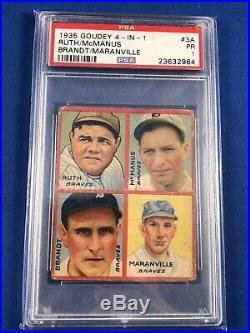 1935 Goudey 4-in-1 #3a Brandt Rabbit Maranville Mcmanus Babe Ruth Psa 1 (9395)