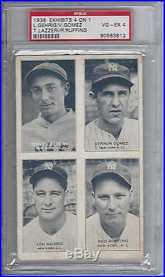 1936 Exhibits 4 On 1 Lou Gehrig Psa Graded 4 Vg-ex Condition Rarer Than A Goudey