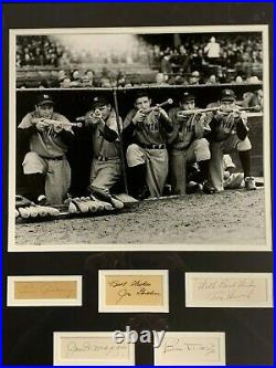 1938 Yankees Signed Display with LOU GEHRIG Autograph and Joe Dimaggio Auto JSA