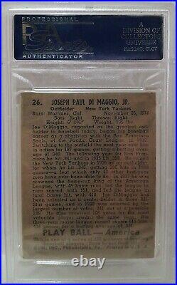1939 Play Ball Joe DiMaggio RC #26 PSA 5 EX New York Yankees HOF Rookie