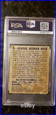 1948 Leaf #3 Babe Ruth New York Yankees HOF PSA 1.5 ICONIC CARD