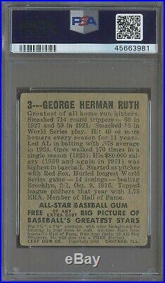 1948 Leaf #3 Babe Ruth New York Yankees HOF PSA 1 ICONIC CARD