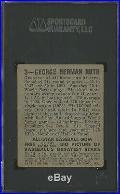 1948 Leaf #3 Babe Ruth New York Yankees HOF SGC 1.5 ICONIC CARD