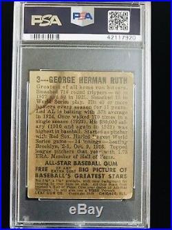 1948 Leaf #3 Babe Ruth PSA 1 New York Yankees