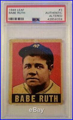 1948 Leaf #3 Babe Ruth PSA Authentic Bright Red Color gorgeous register Beauty