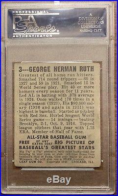 1948 Leaf BABE RUTH #3 Yankees PSA 2 GOOD NO RESERVE