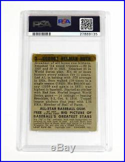 1948 Leaf Babe Ruth #3 Yankees PSA 1