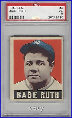1948 Leaf Baseball Card #3 Babe Ruth PSA Graded 3 New York Yankees