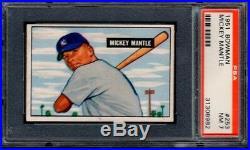1951 BOWMAN #253 MICKEY MANTLE PSA 7 NM RC Rookie HoF HOT CARD (8982)