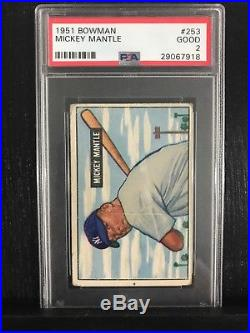 1951 BOWMAN MICKEY MANTLE ROOKIE PSA 2! Must Have For Your Collection
