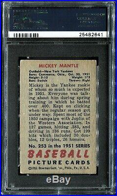 1951 Bowman #253 MICKEY MANTLE ROOKIE PSA 3.5 VG+ HOT ROOKIE