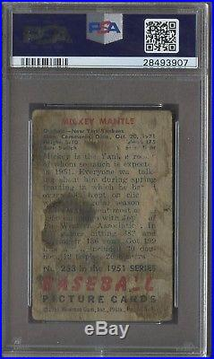 1951 Bowman #253 Mickey Mantle New York Yankees RC Rookie PSA ICONIC CARD