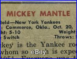 1951 Bowman #253 Mickey Mantle PSA 2.5 NYY Yankees MLB HOF