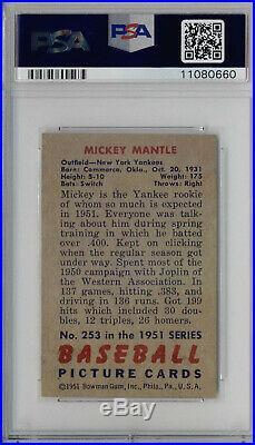 1951 Bowman 253 Mickey Mantle PSA Nm-Mt 8 PSA 8