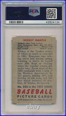 1951 Bowman #253 Mickey Mantle Rookie High # Psa 2 Gd (svsc)