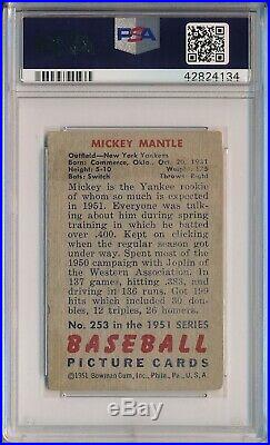 1951 Bowman #253 Mickey Mantle Rookie High # Psa 2 Good (svsc)